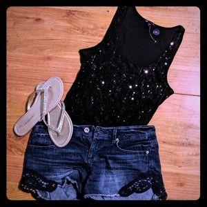Dark distressed Blue lace cutoff denim shorts 29